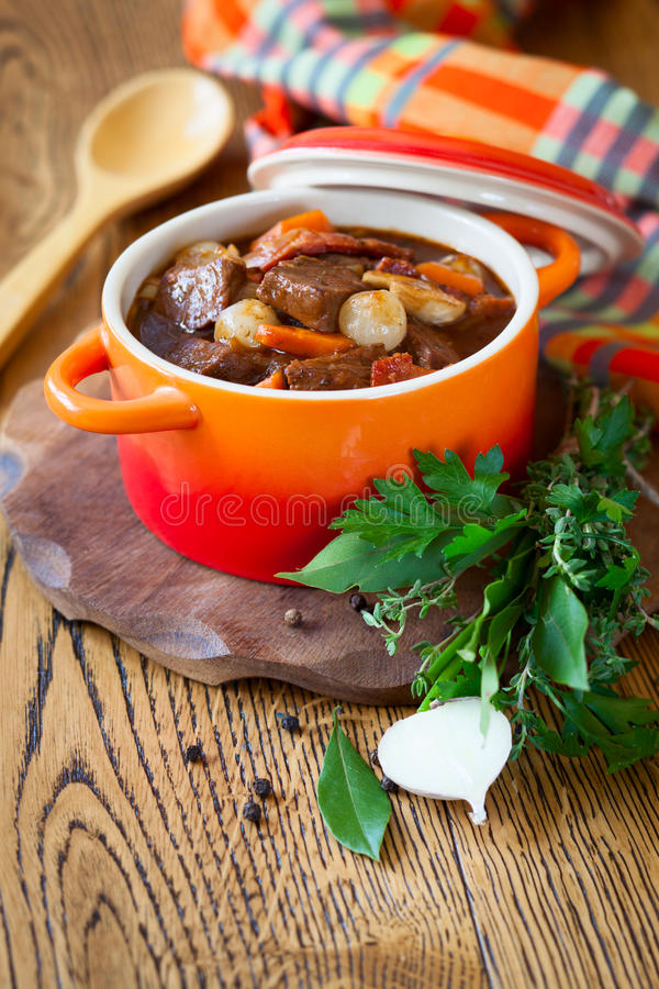 Boeuf Bourguignon. With carrots,onions and mushrooms royalty free stock photo