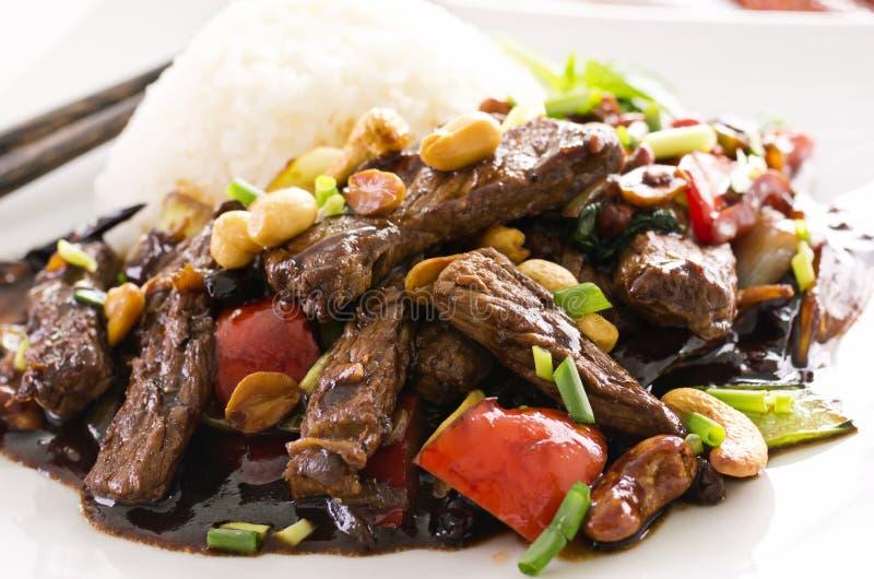 Boeuf chinois en sauce épicée photographie stock libre de droits