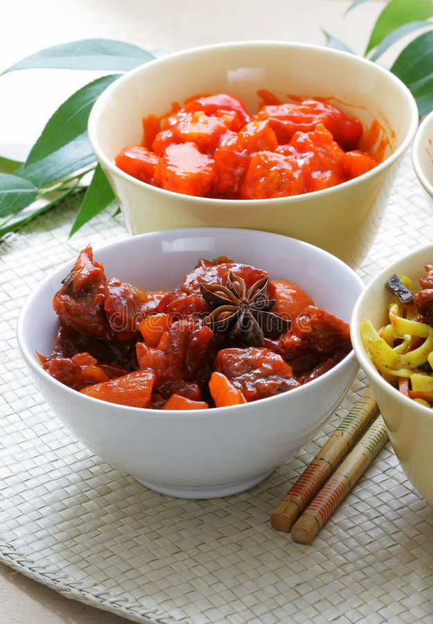 Boeuf et porc chinois photo stock