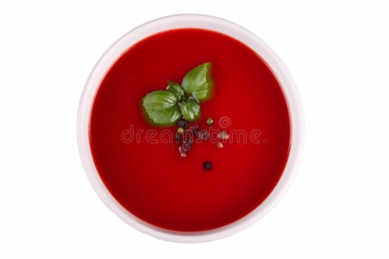 Boeuf et potage aux légumes avec la tomate et l'aneth Borscht ukrainien d'isolement sur un fond blanc photo stock