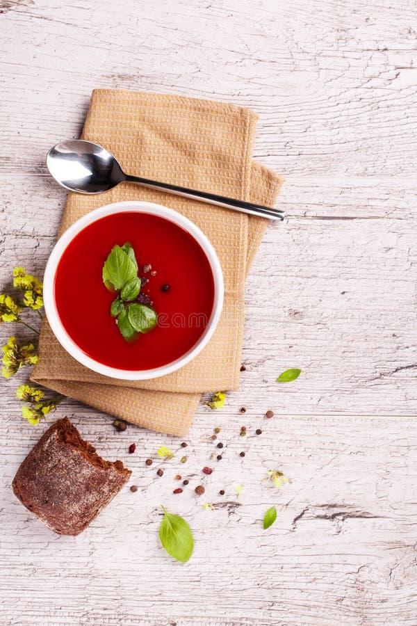Boeuf et potage aux légumes avec la tomate et l'aneth Borscht ukrainien sur un fond blanc photos stock