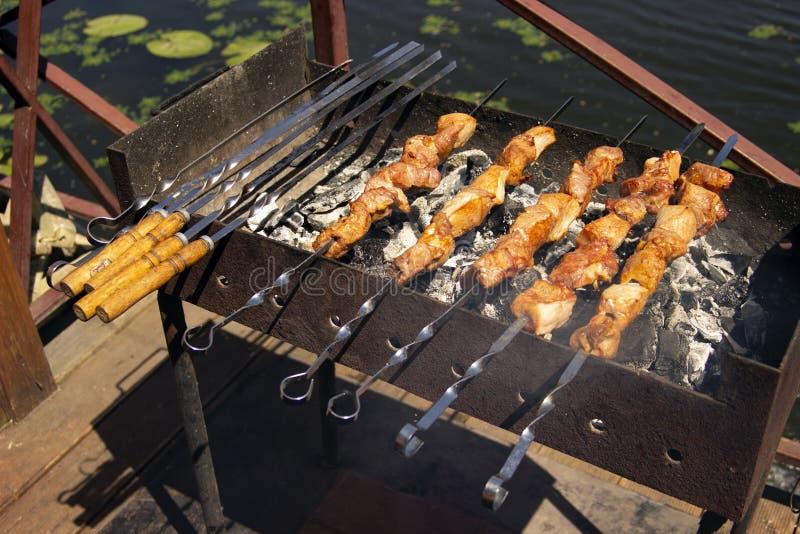 Boeuf ou viande de poulet sur le barbecue extérieur photographie stock libre de droits