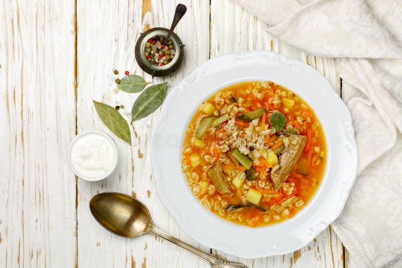 Boeuf russe traditionnel de Rassolnik de soupe avec les concombres marinés photo stock