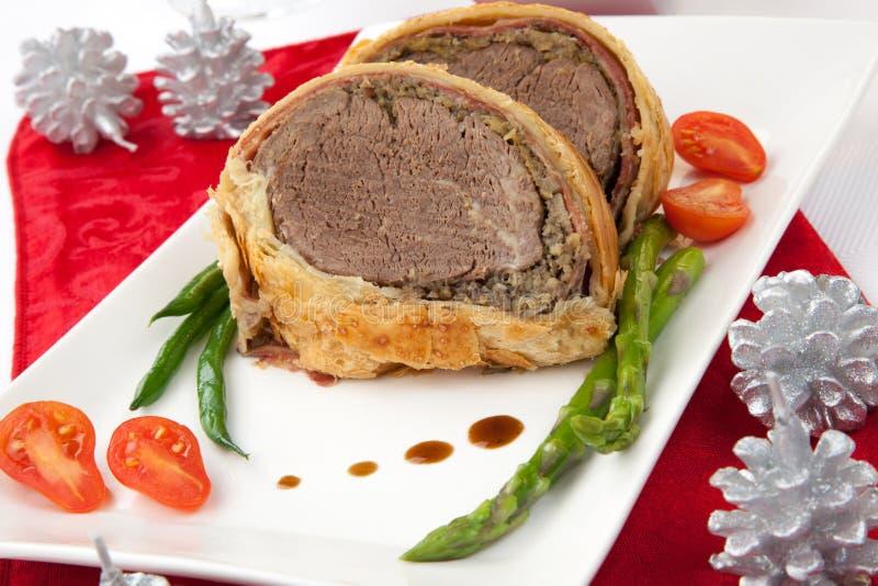 Boeuf Wellington pour Noël images stock
