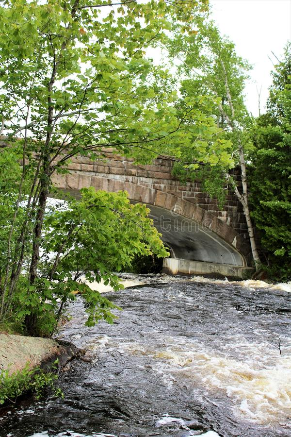 Bog River Falls. Scenic bridge landscape and flow in Tupper Lake, New York in the Adirondacks, designated as Scenic River by the State of New York stock photos