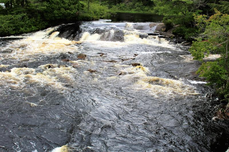 Bog River Falls. Scenic landscape and flow in Tupper Lake, New York in the Adirondacks, designated as Scenic River by the State of New York stock photography