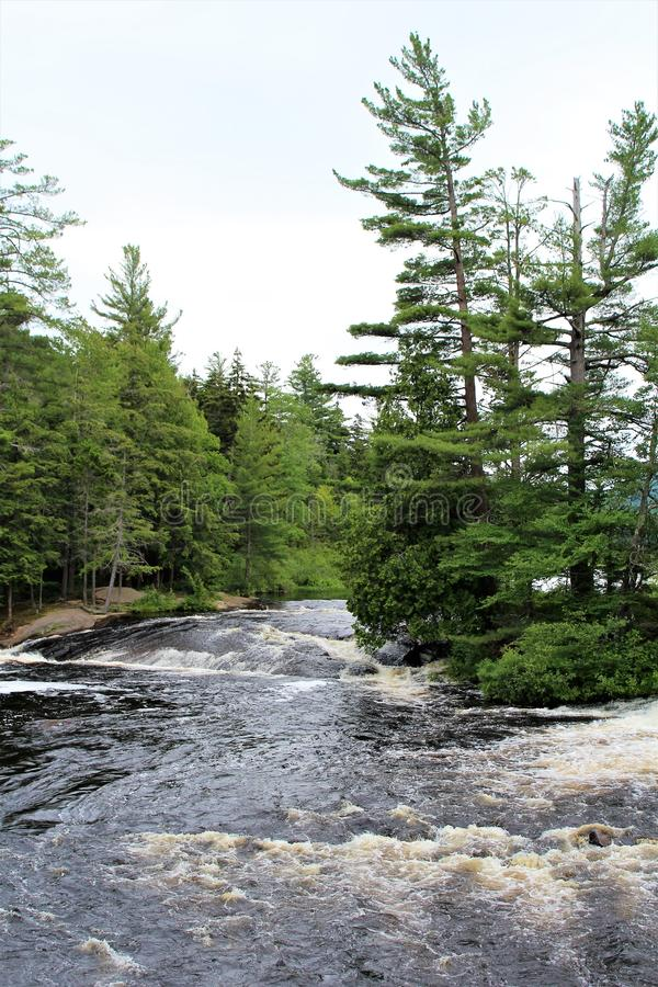 Bog River Falls. Scenic landscape and flow in Tupper Lake, New York in the Adirondacks, designated as Scenic River by the State of New York stock image
