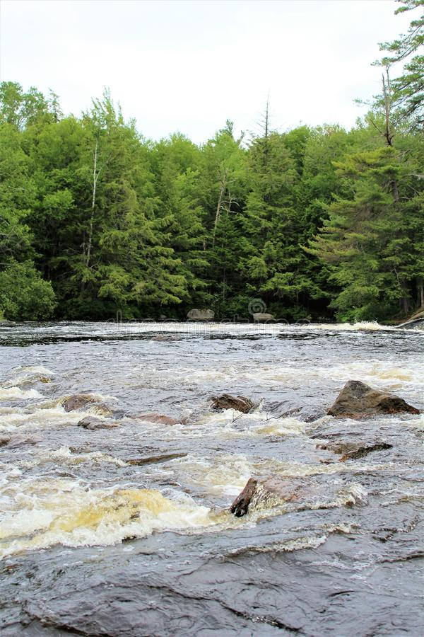 Bog River Falls. Scenic landscape and flow in Tupper Lake, New York in the Adirondacks, designated as Scenic River by the State of New York stock photo