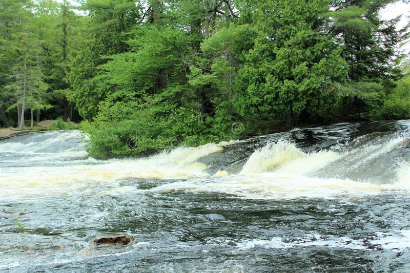 Bog River Falls. Scenic landscape and flow in Tupper Lake, New York in the Adirondacks, designated as Scenic River by the State of New York royalty free stock image
