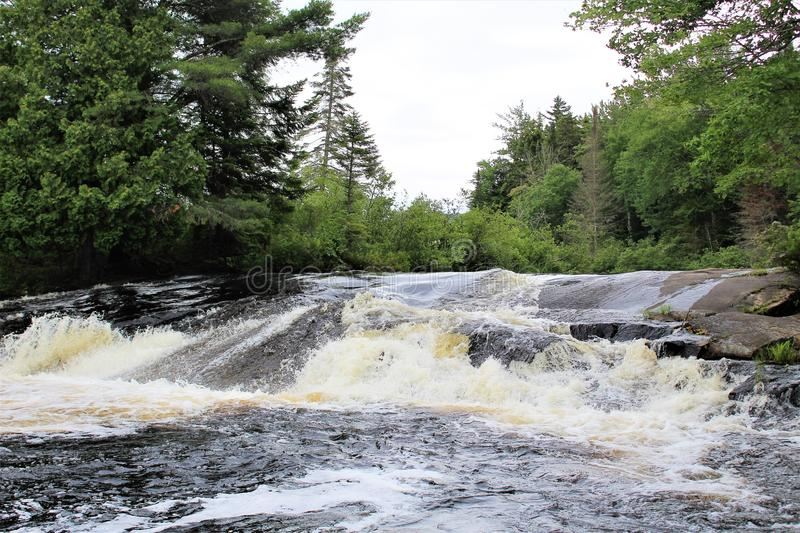 Bog River Falls. Scenic landscape and flow in Tupper Lake, New York in the Adirondacks, designated as Scenic River by the State of New York royalty free stock photography