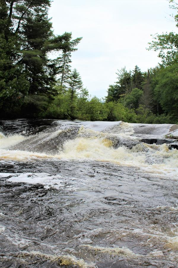 Bog River Falls. Scenic landscape and flow in Tupper Lake, New York in the Adirondacks, designated as Scenic River by the State of New York royalty free stock images