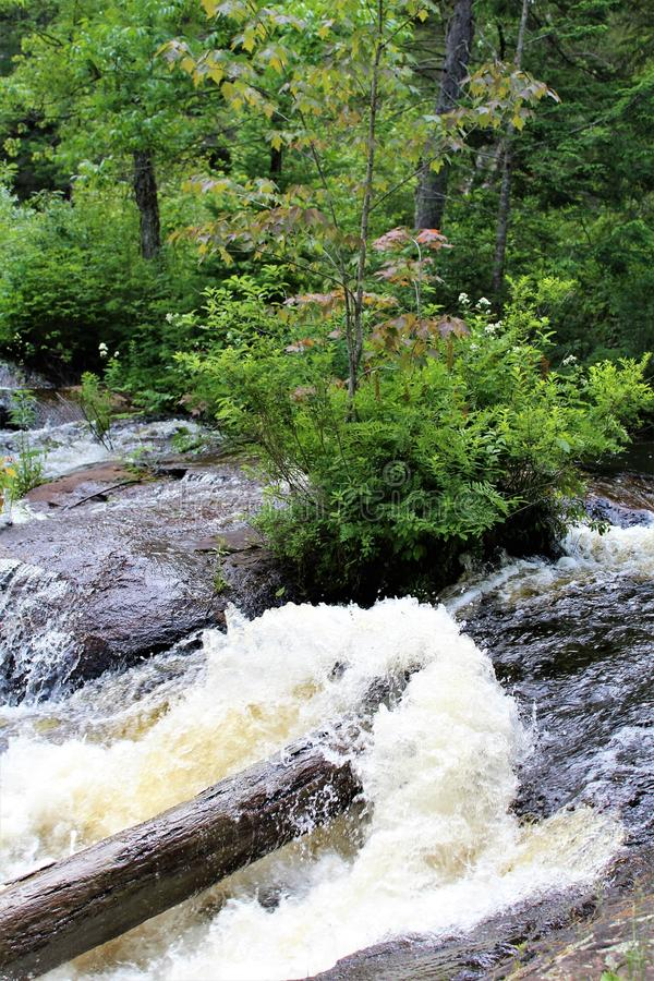 Bog River Falls. Scenic landscape and flow in Tupper Lake, New York in the Adirondacks, designated as Scenic River by the State of New York royalty free stock photo