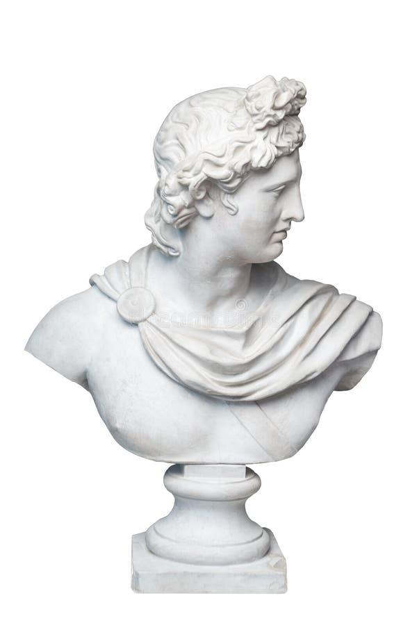 Boga Apollo popiersia rzeźba Starożytnego Grka bóg słońca i poezja tynku kopia marmurowa statua odizolowywająca na bielu obraz stock