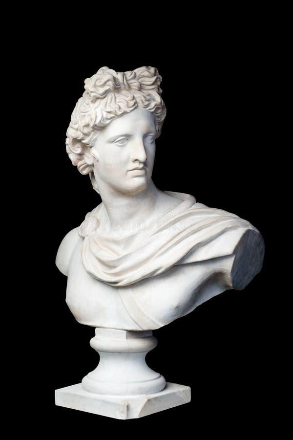 Boga Apollo popiersia rzeźba Starożytnego Grka bóg słońca i poezja tynku kopia marmurowa statua odizolowywająca na czerni zdjęcie royalty free