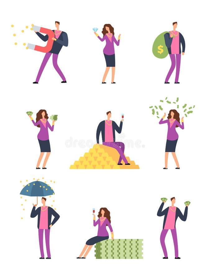 Bogaci luksusowi ludzie wydawać pieniądzy Szczęśliwy zamożny mężczyzna, milionerów wektorowi postać z kreskówki ustawia odosobnio ilustracja wektor