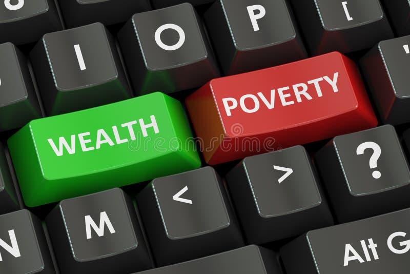 Bogactwa i ubóstwa pojęcie na drogowym kierunkowskazie, 3D rendering ilustracja wektor