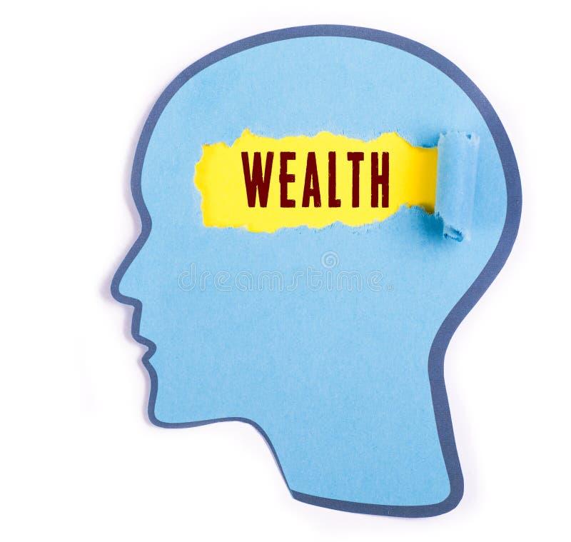 Bogactwa słowo w osoby głowie obraz royalty free