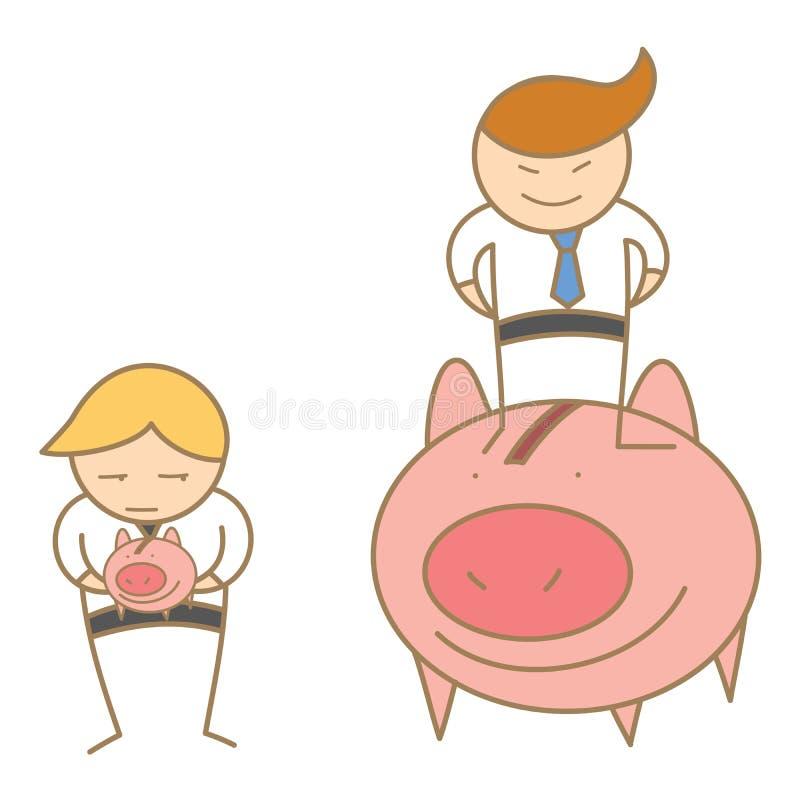 bogactwo i biedni biznesowi mężczyzna royalty ilustracja