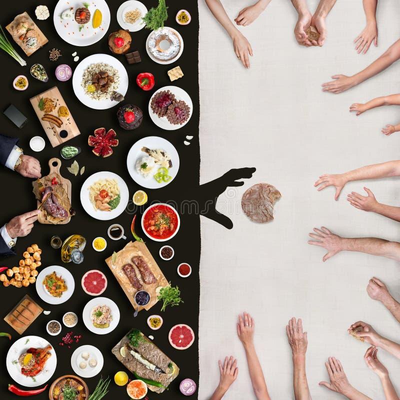 Bogactwo i ubóstwo Widok nad od stołu zdjęcie stock
