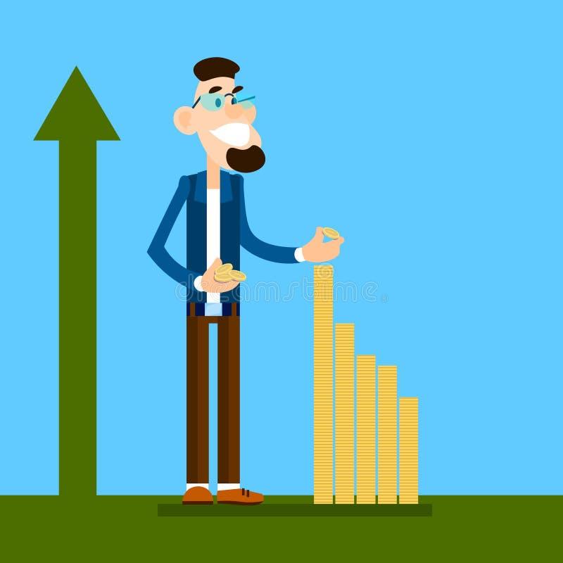 Bogatej Biznesowego mężczyzna budowy Pieniężny wykres Z monetą, strzała W górę bogactwo przyrosta pojęcia ilustracji