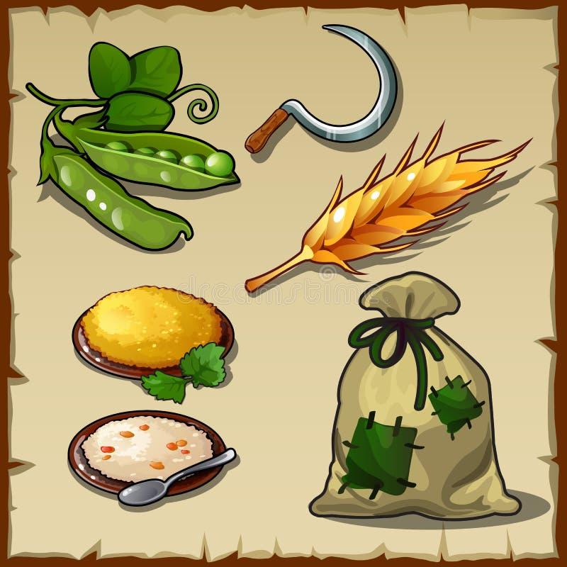 Bogaty żniwo, sierp, groch, prosty jedzenie i torba, ilustracja wektor