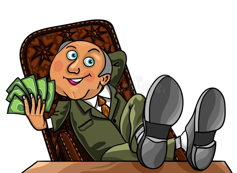 Bogaty Biznesowy mężczyzna z pieniądze ilustracja wektor