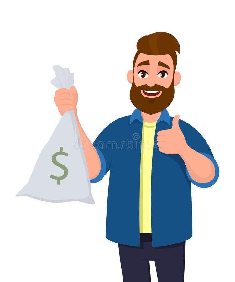 Bogaty młody człowiek trzyma pieniądze, gotówki torba w ręce i gestykulujący aprobatę podpisuje Pomyślny biznesu i finanse pojęci royalty ilustracja