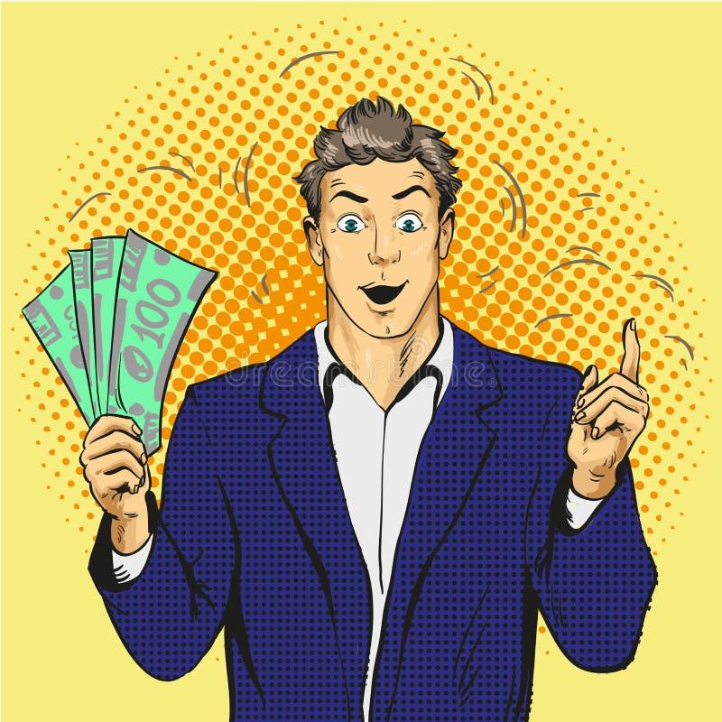 Bogaty przystojny faceta chwyta pieniądze i wskazuje jego palec up Biznesowy pojęcie wektor w wystrzał sztuki stylu royalty ilustracja