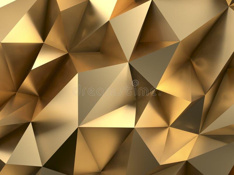 Bogaty Złocisty Abstrakcjonistyczny tła 3D rendering ilustracja wektor