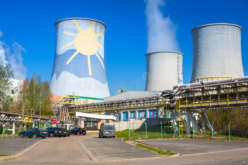Bogatynia, Poland - April 20, 2019: Turow Thermal Power Station in Bogatynia, Poland. This is the modern brown coal thermal power. Station located in Poland stock images