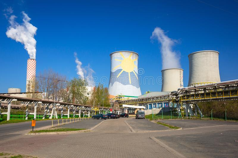 Bogatynia, Poland - April 20, 2019: Turow Thermal Power Station in Bogatynia, Poland. This is the modern brown coal thermal power. Station located in Poland stock photography