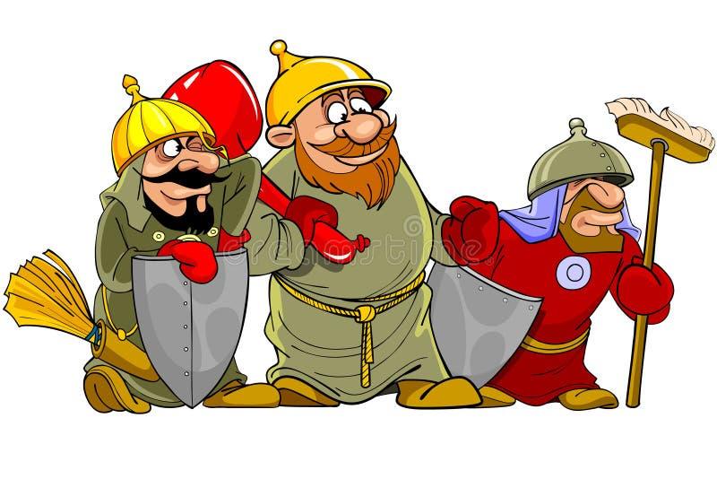 Bogatyrs engraçados dos guerreiros dos desenhos animados ilustração royalty free