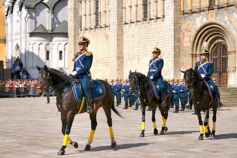 Bogatyrs of President`s Regiment - Guard Mounting Ceremony. MOSCOW, RUSSIA - May 03, 2008 Cavalry in old tsarist uniform ride majestically on beautiful horses royalty free stock photos