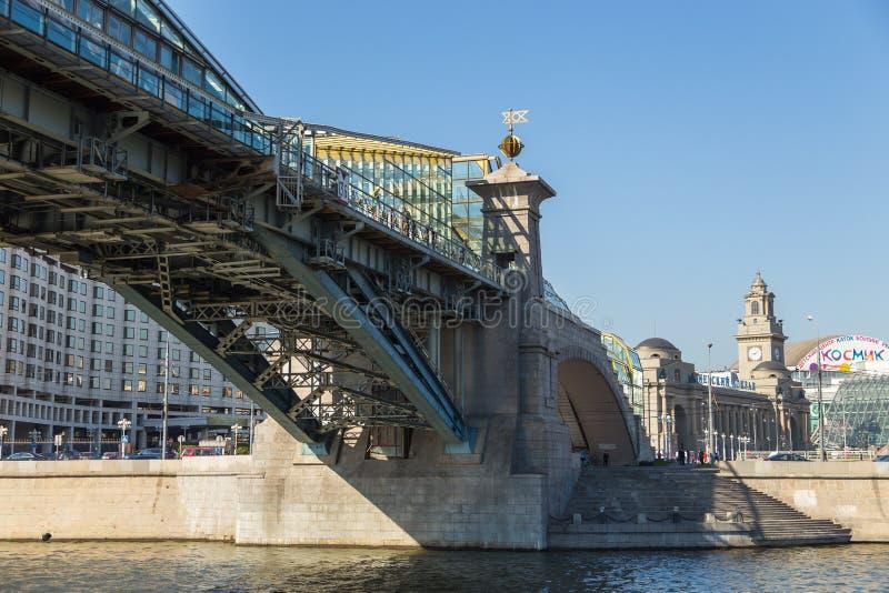 Bogdan Khmelnitsky-brug over de Rivier van Moskou, Noscow, Rusland stock foto