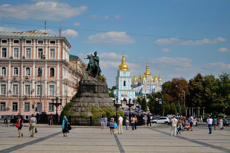 Bogdan Khmelnitsky monument and St. Sofia's Square, Kiev royalty free stock images