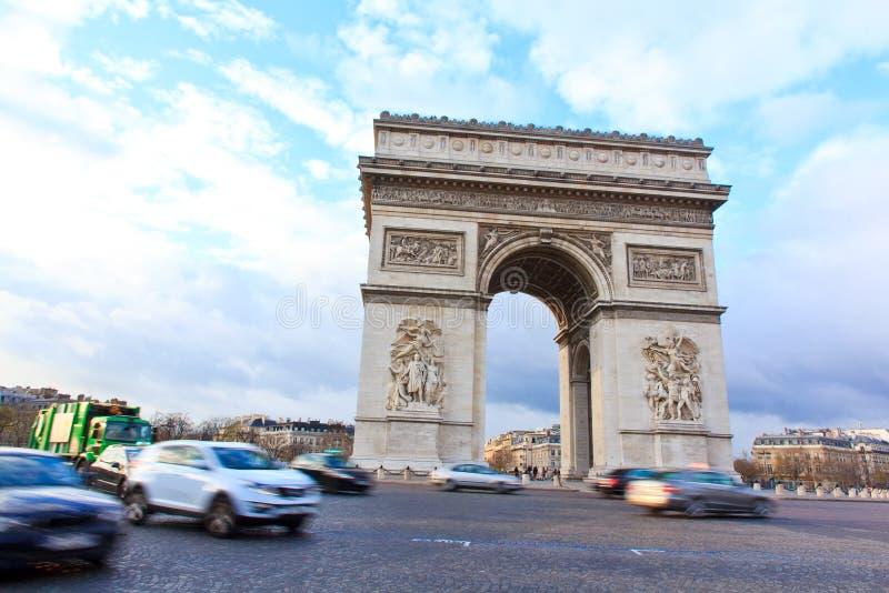 Bogen des Triumphes von Paris, Frankreich lizenzfreie stockfotos