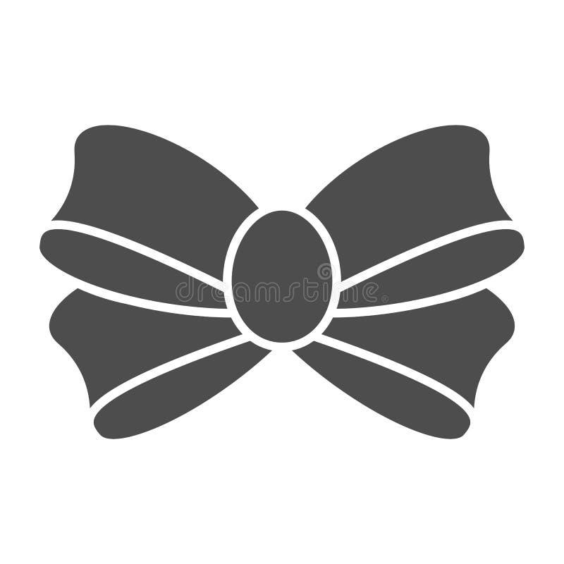 Bogen für feste Ikone des Geschenks Knotenvektorillustration lokalisiert auf Weiß Anwesender Bogen Glyph-Artentwurf, bestimmt für stock abbildung