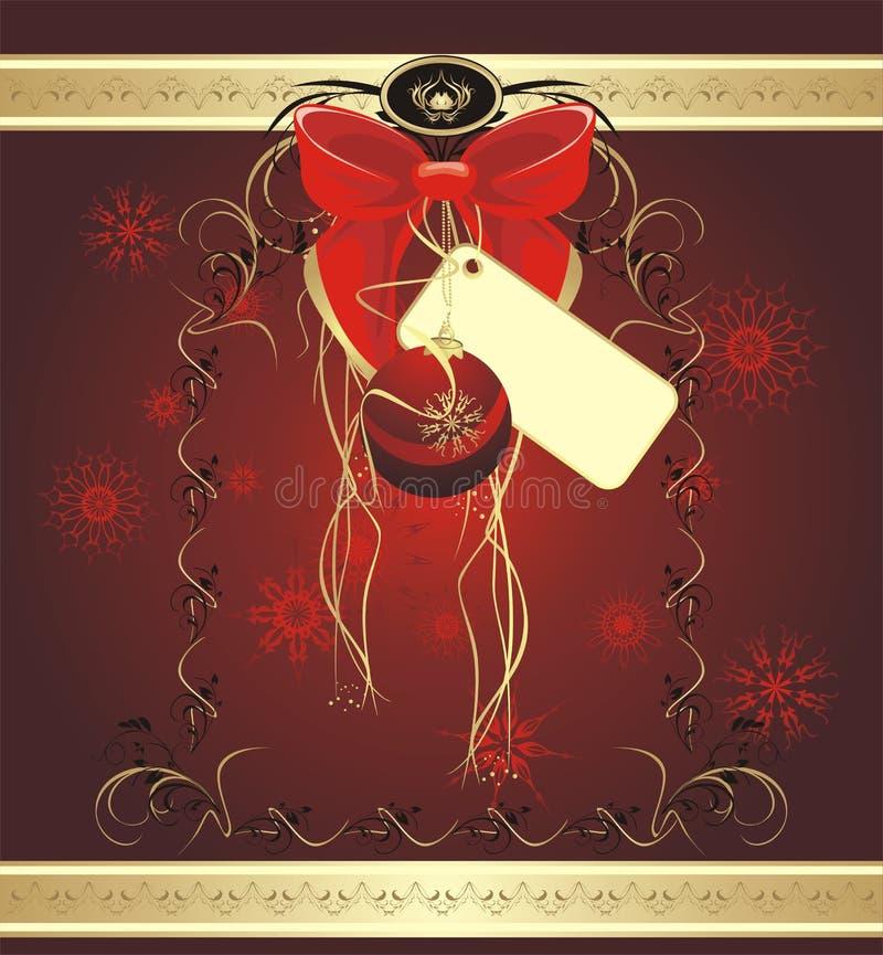 Bogen mit Aufkleber und Weihnachtskugel. Hintergrund vektor abbildung