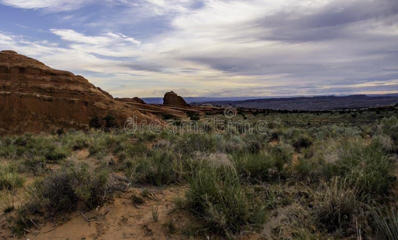 Bogen Nationaal Park vlak na dageraad stock afbeeldingen