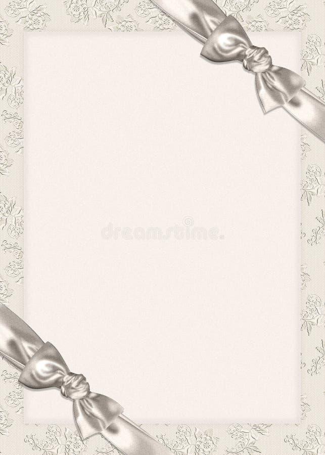 Bogen op de uitnodiging van het Huwelijk stock illustratie