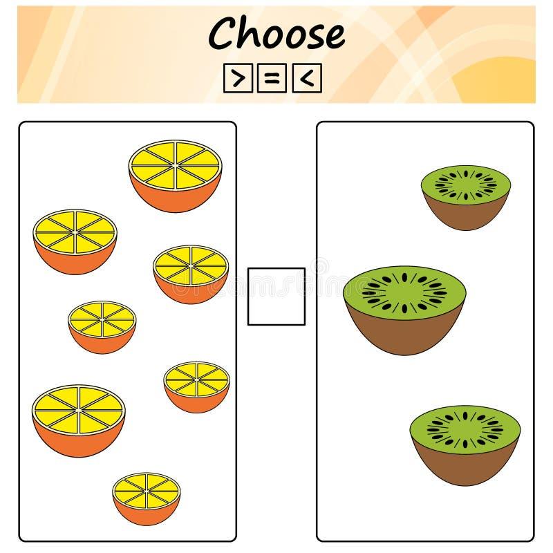 bogen Spiel für Kinder - wählen Sie mehr, weniger oder Gleichgestelltes Lernen von Mathematik, Zahlen Aufgaben für Vorschulkinder lizenzfreie abbildung