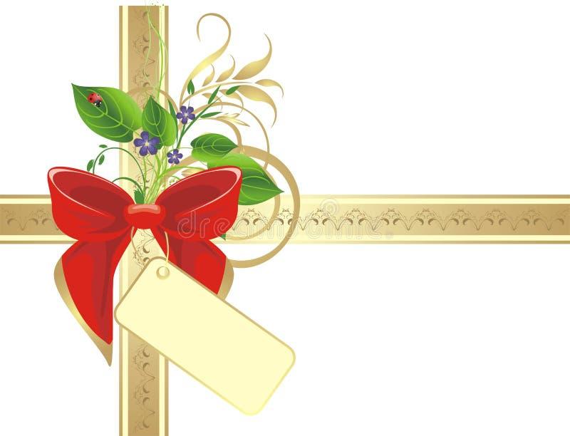 Bogen und Blumenstrauß auf dem Goldfarbband lizenzfreie abbildung