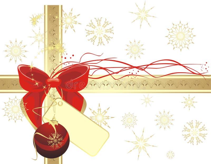 Bogen- und Weihnachtskugel auf dem Goldfarbband stock abbildung