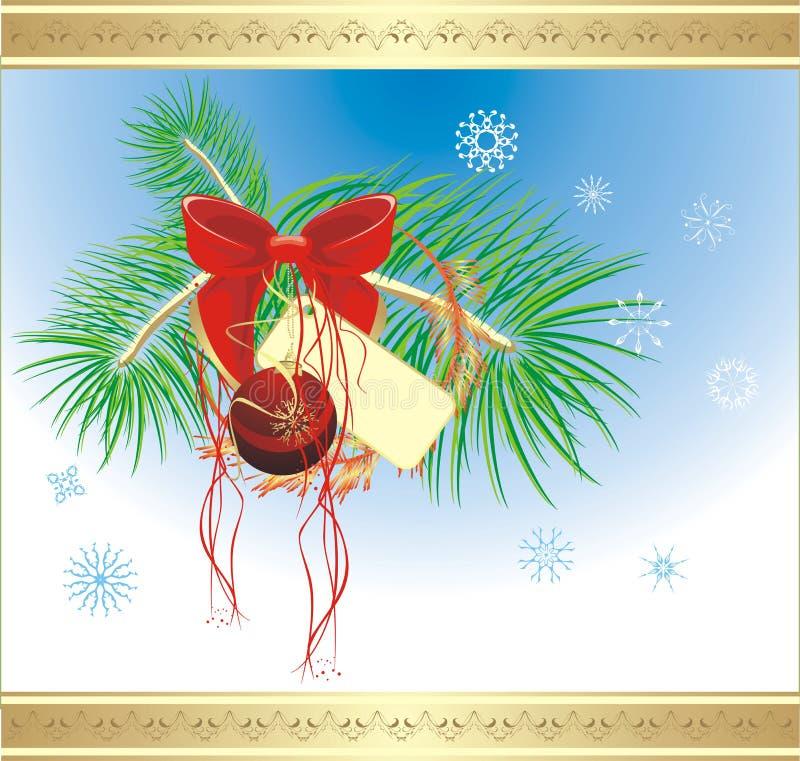 Bogen- und Weihnachtskugel auf dem Pelzbaum. Karte vektor abbildung