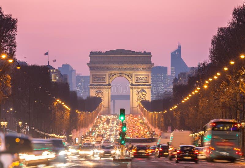 Bogen von Triomphe Champs-Elysees Paris Frankreich lizenzfreies stockbild
