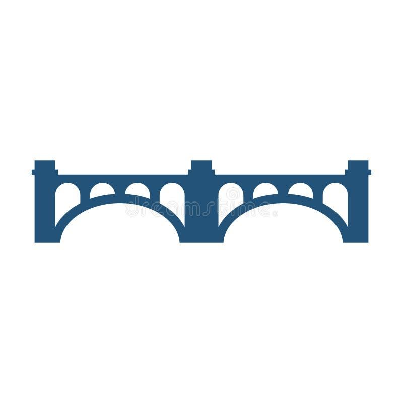 Bogenbrücke mit Spalten silhouettieren die lokalisierte Vektorillustrationsikone lizenzfreie abbildung