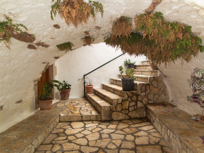 Bogenpflasterungsgehweg mit den Grünpflanzen, die oben wachsen stockbilder