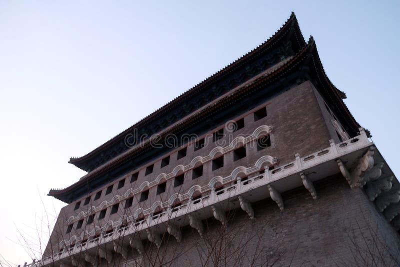 Bogenschießen-Turm von Zhengyangmen ist ein Tor in Peking-` s historischer Stadt lizenzfreie stockbilder