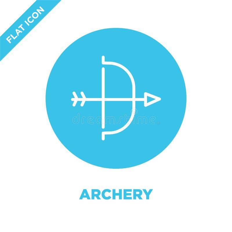 Bogenschießenikonenvektor von der Militärsammlung Dünne Linie Bogenschießenentwurfsikonen-Vektorillustration Lineares Symbol für  lizenzfreie abbildung