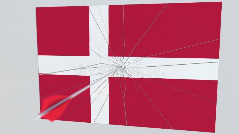 Bogenschießenpfeil schlägt Flagge von DÄNEMARK-Platte Begriffswiedergabe 3d lizenzfreie abbildung